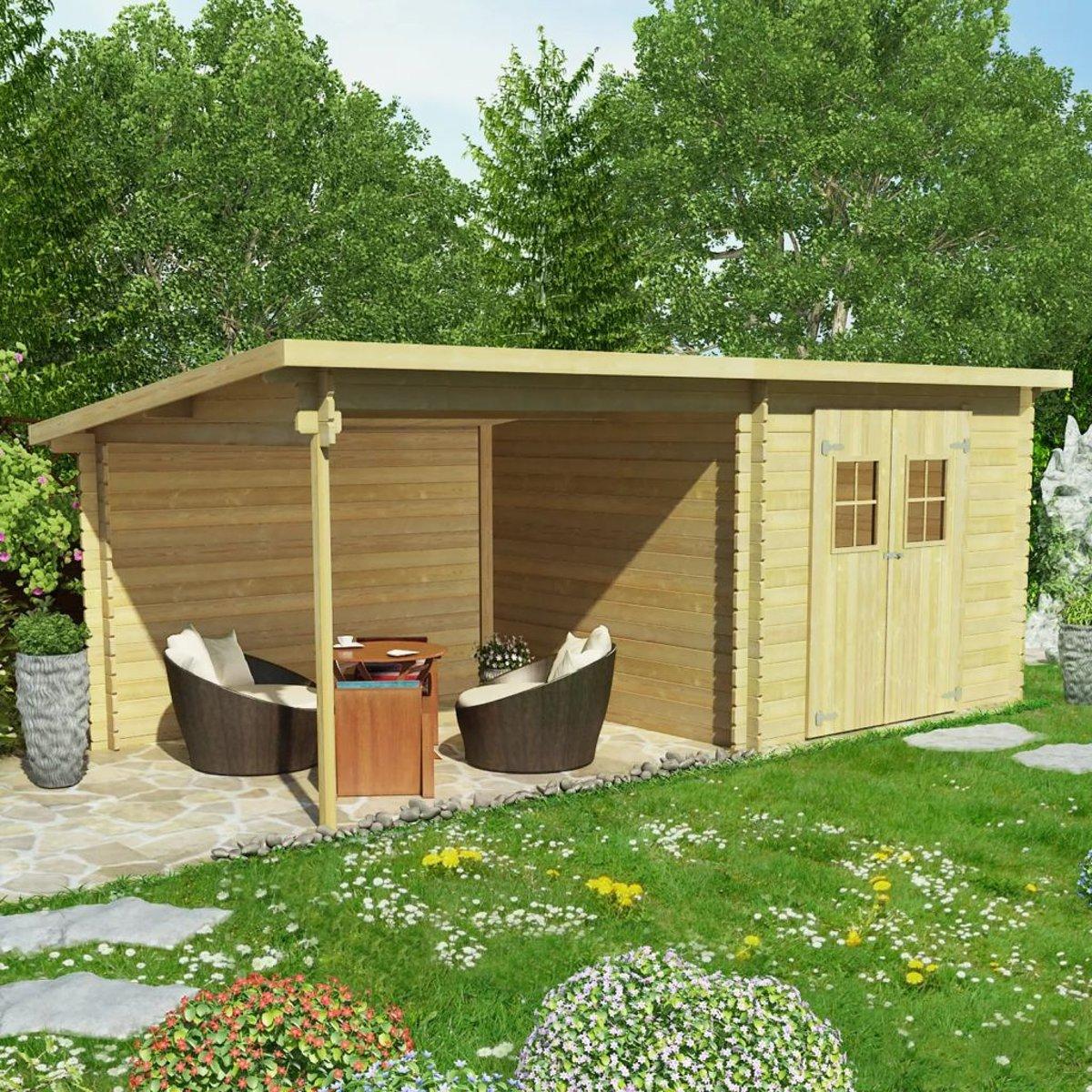 Wiha vidaXL Tuinhuis 28 mm 6.3x3 m massief hout kopen