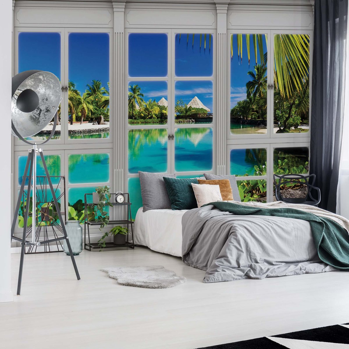 Fotobehang 3D Door View Tropical Lagoon   VEL - 152.5cm x 104cm   130gr/m2 Vlies kopen