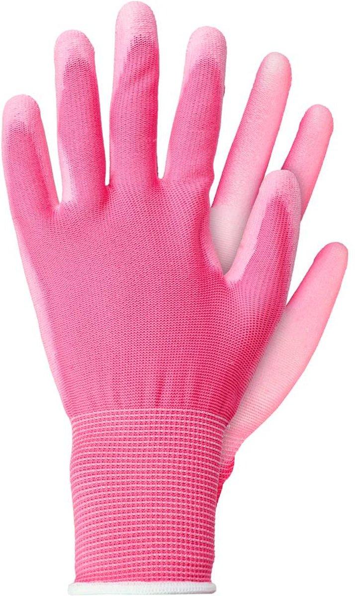Talen Tools Werkhandschoenen licht polyester roze maat S kopen