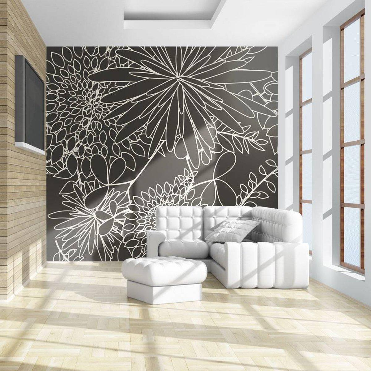 Fotobehang - Zwart-wit bloemen achtergrond kopen