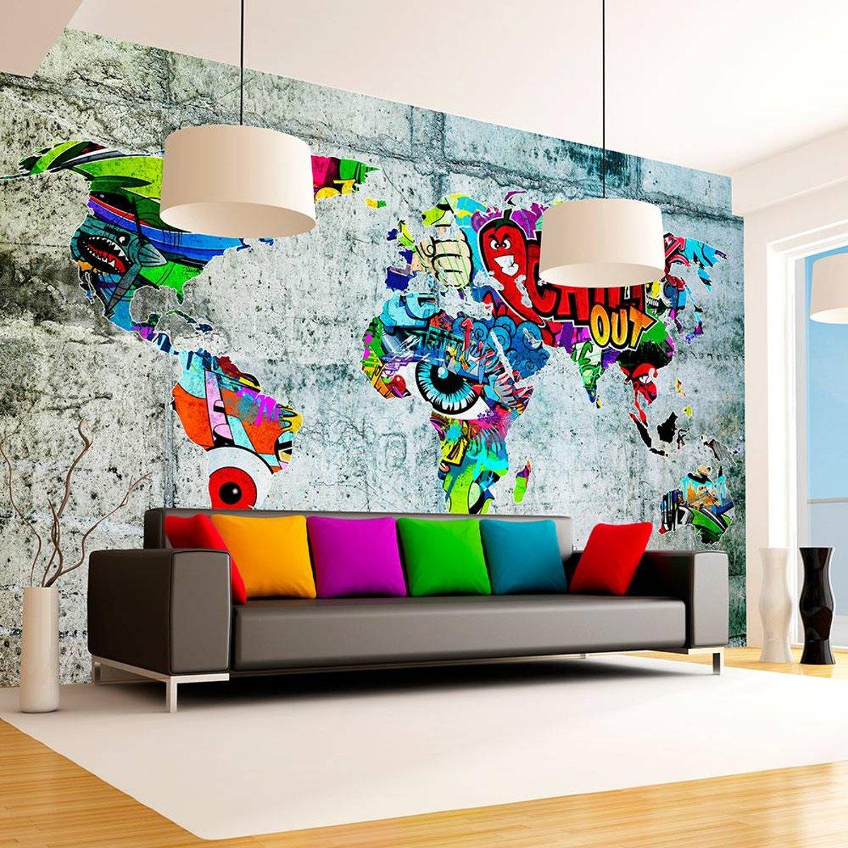 Fotobehang - Wereldkaart - Graffiti kopen