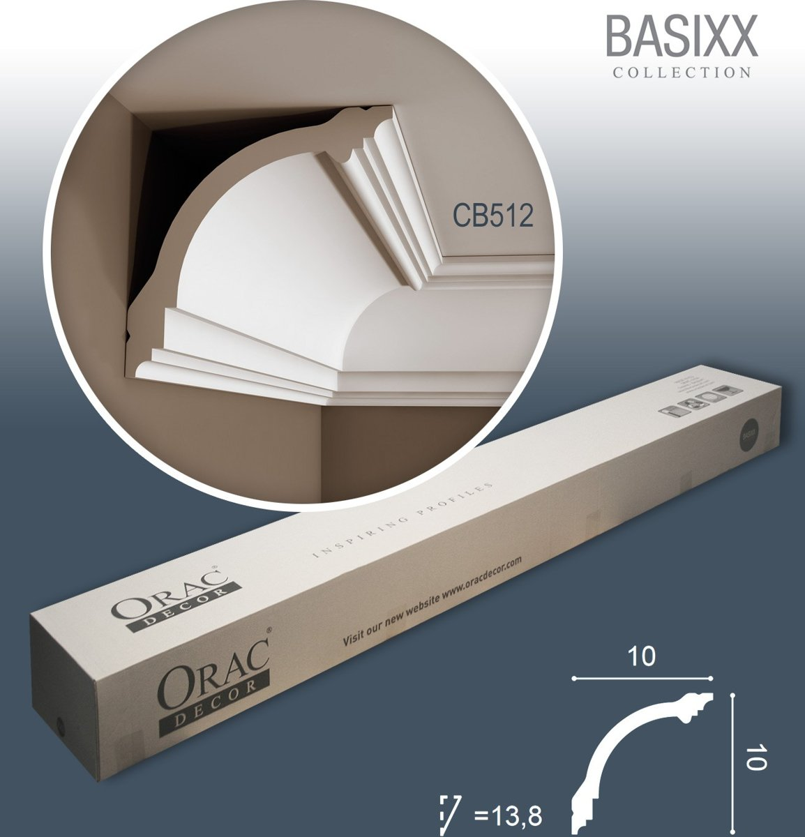 1 doos 14 Kroonlijst Plafondlijst Sierlijst 28m Orac Decor CB512 BASIXX kopen