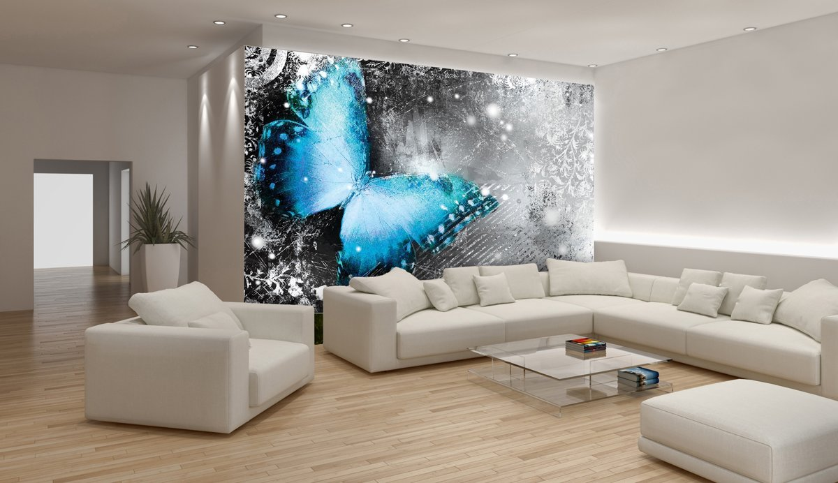 Butterfly Blue And Grey Photo Wallcovering kopen