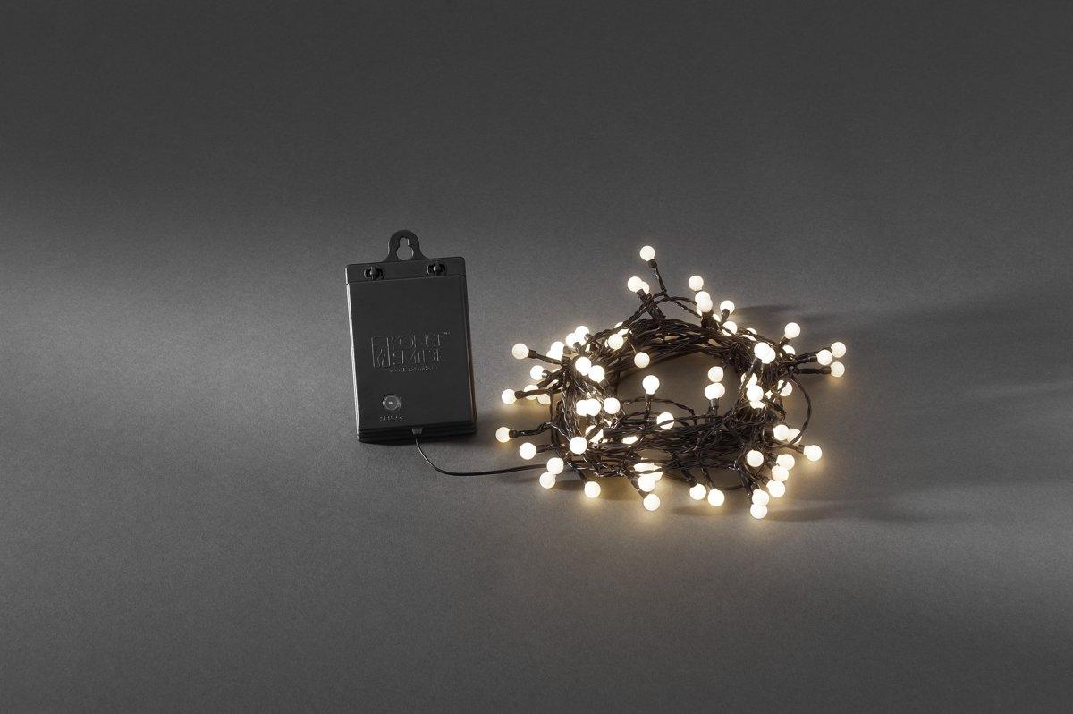 Konstsmide - LED snoer cherry op batt timer 80x - warmwit kopen