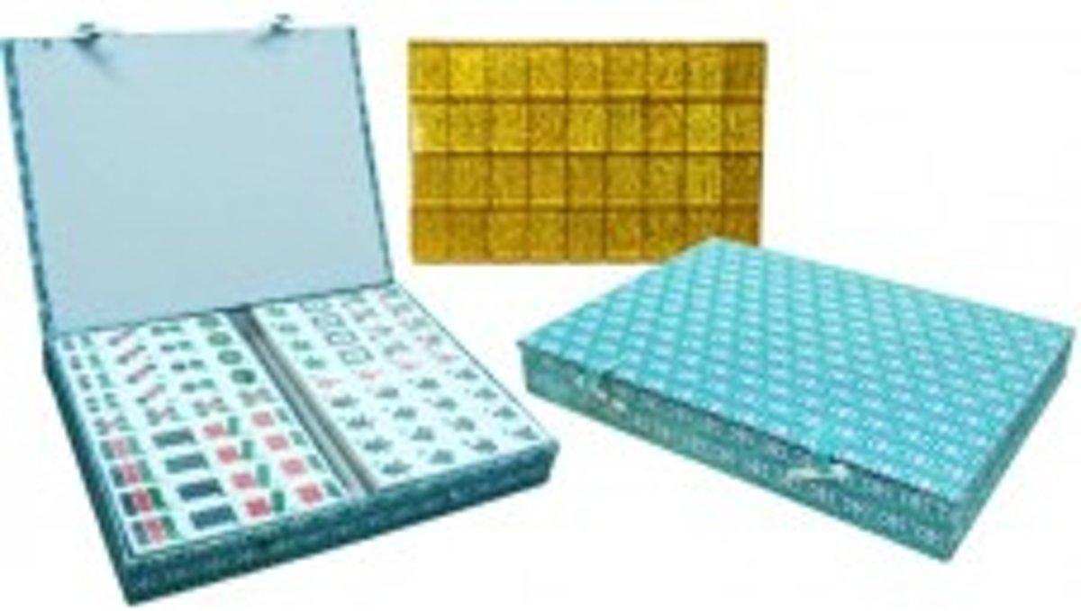 Mah-Jong Kunstof steen Wit/goud,koffer groen stof