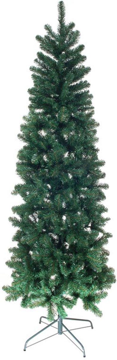 Kunstkerstboom Newland slim - extra smal dia. 75cm- 210cm hoog - Easy setup - 2 kleurige groen - hoogwaardige PVC - Blauwspar super mooi kopen