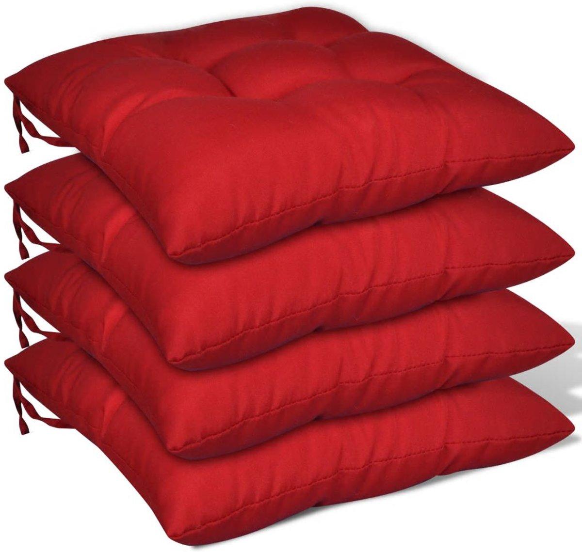 Stoelkussens rood set van 4 kopen
