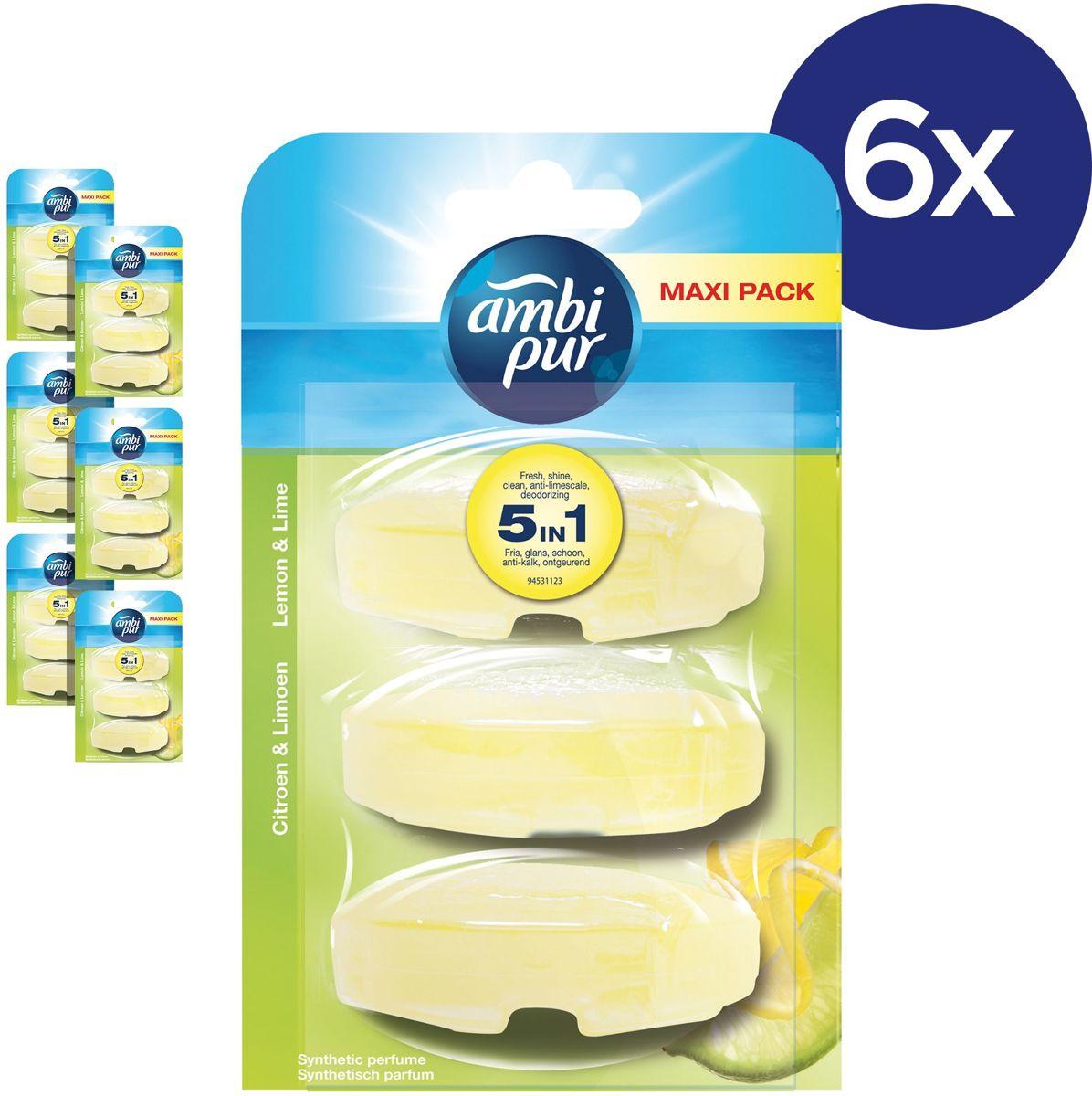 Ambi Pur Lemon Navulling - Voordeelverpakking 3x6 Stuks - Toiletblok kopen