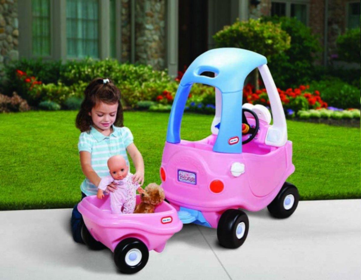Little tikes Cozy Coupe Roze met aanhanger