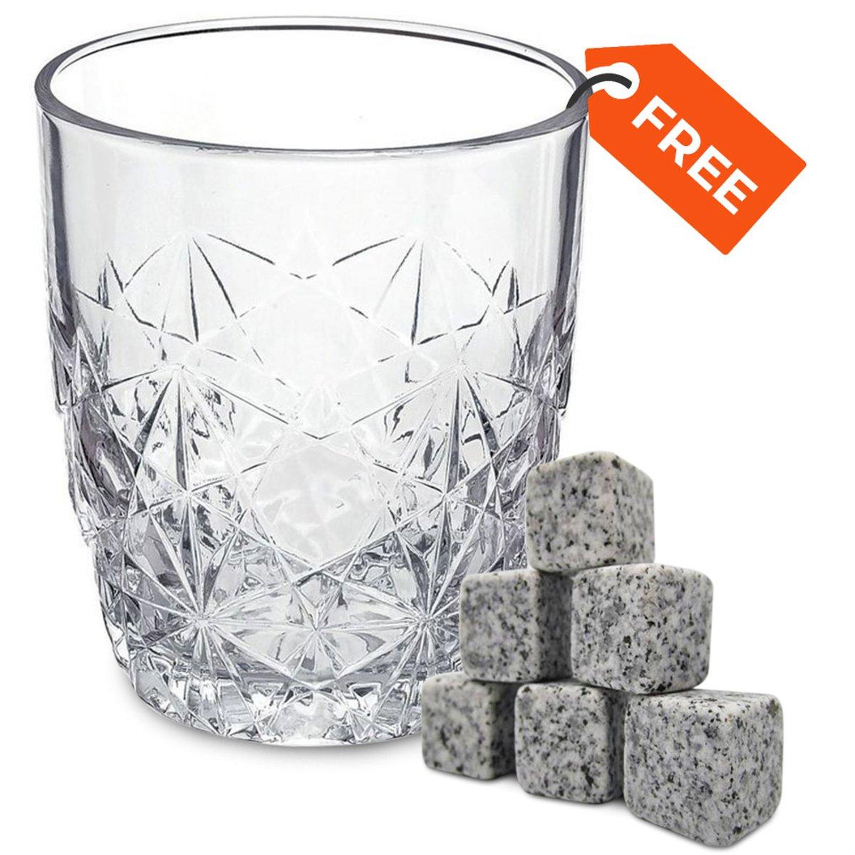 Whisky stones 9 stuks met een Luxe Whisky Glas - ijsblokken van natuursteen - Drinkglas - Whisky - Gif set - Cadeau kopen