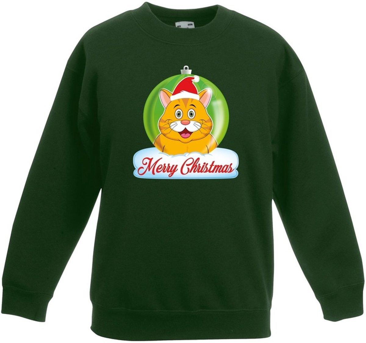 Kersttrui Merry Christmas oranje kat / poes kerstbal groen jongens en meisjes - Kerstruien kind 14-15 jaar (170/176) kopen