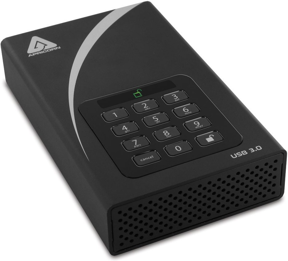 Apricorn Aegis Padlock DT 3TB 3000GB Zwart externe harde schijf