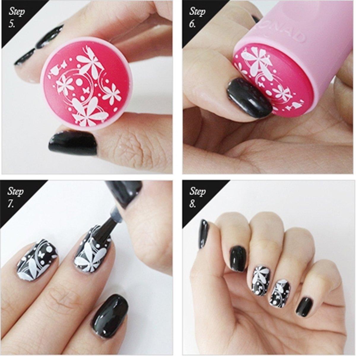 bol.com | KONAD nagel sjabloon M57-1 met 4 nagel figuurtjes voor ...