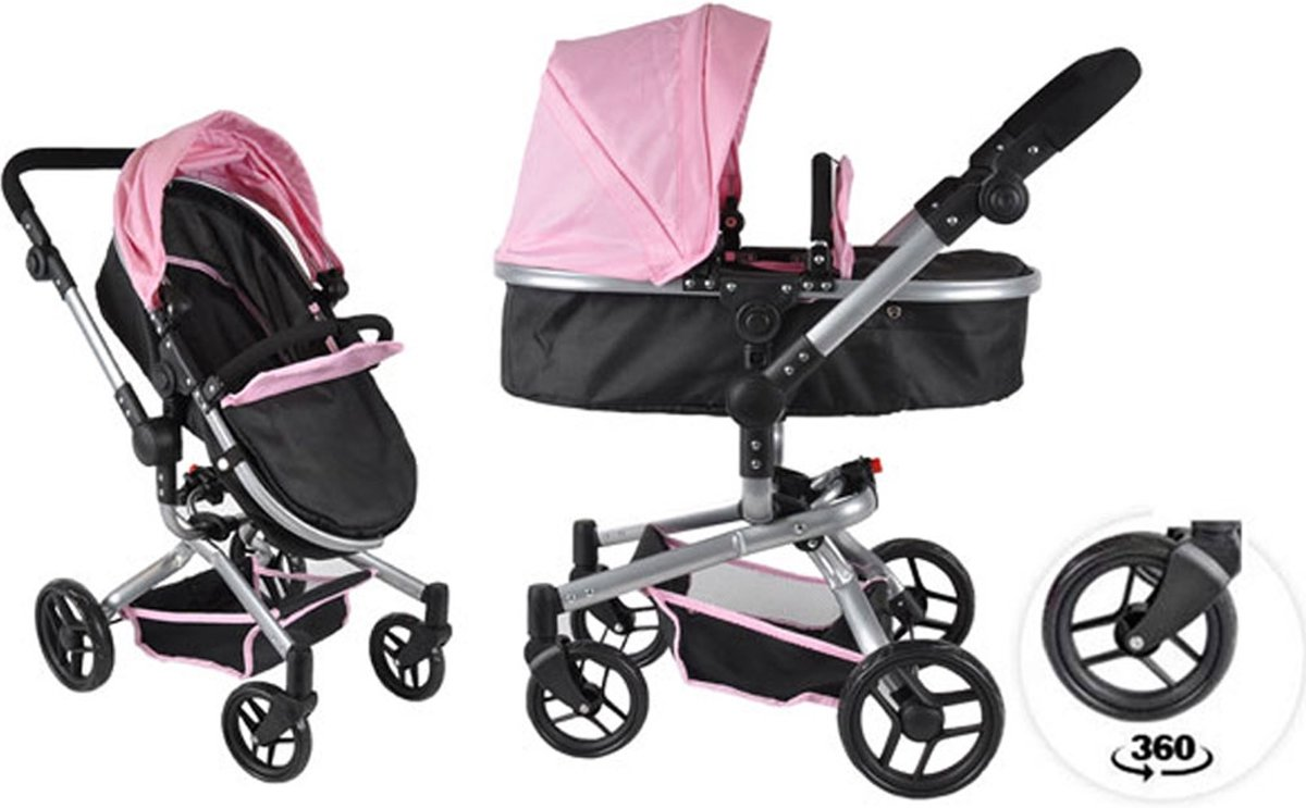 Bandits and Angels Black Angel 2in1 softpink poppenwagen