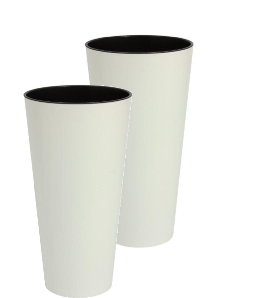 Bloempot Buiten Hoog Rond Tubus Slim 15cm WIT Prosperplast / 2 STUKS ! / kopen