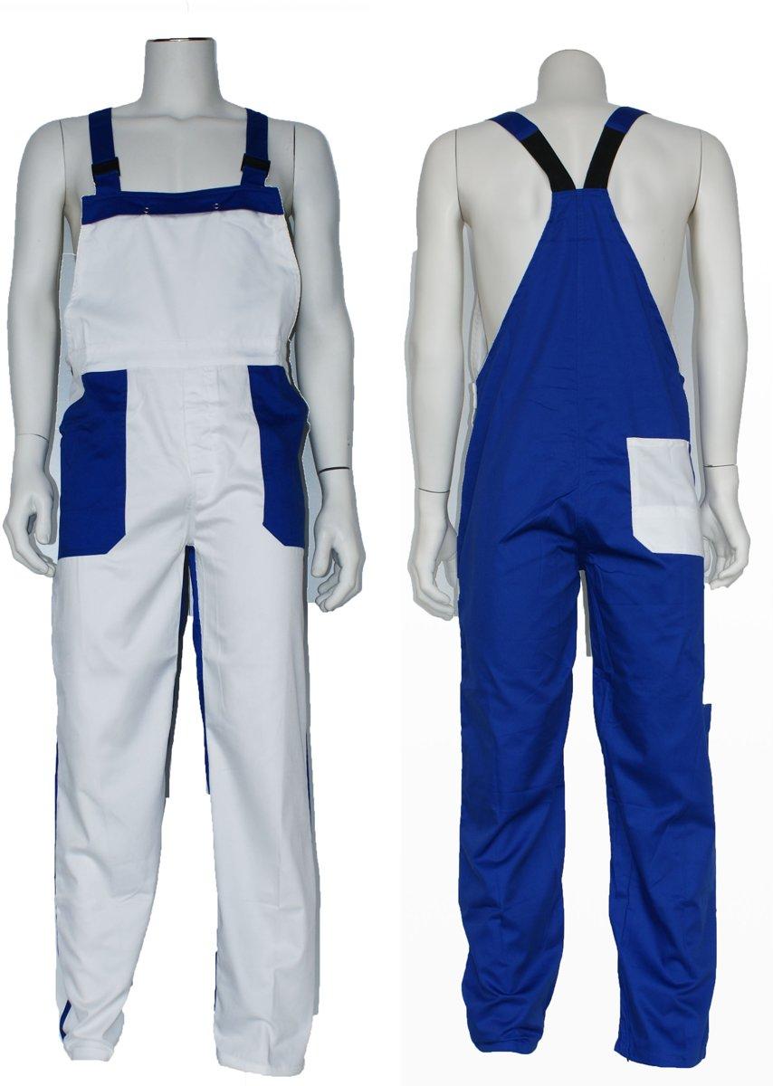 Yoworkwear Tuinbroek polyester/katoen wit-korenblauw maat 50 kopen