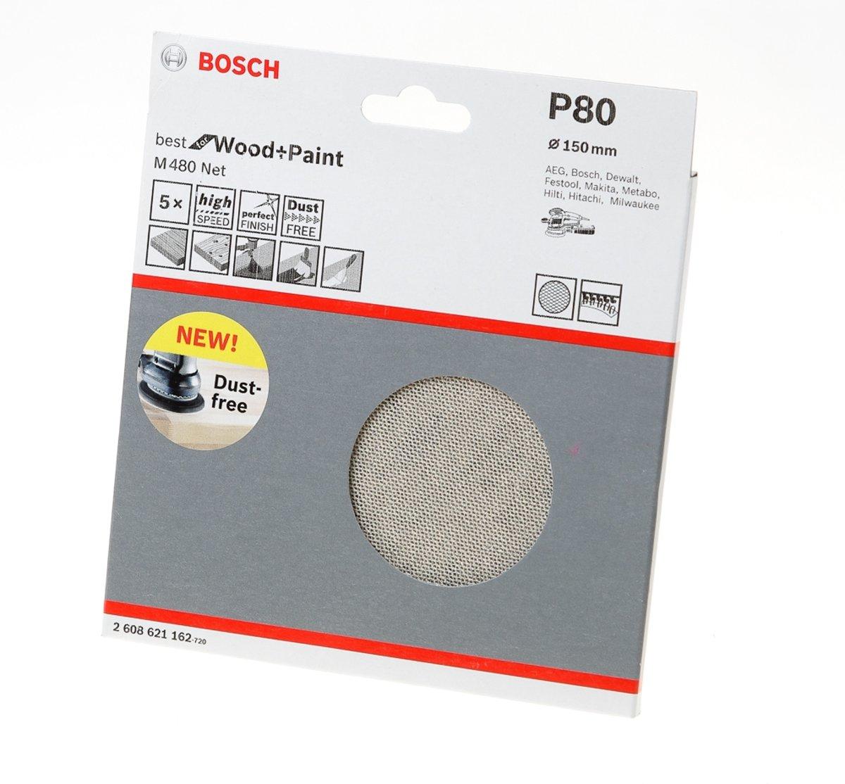 Bosch Schuurschijfnet Wood and Paint 150mm K80 M480 blister van 5 schijven kopen