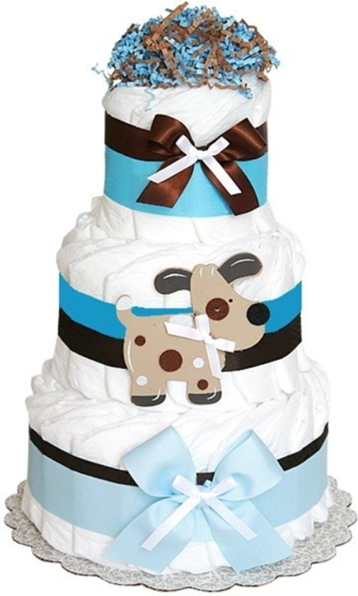 Pamper - luiertaart jongens 1 laag maat 2 (4-8kg) kraamcadeau geboortecadeau kopen