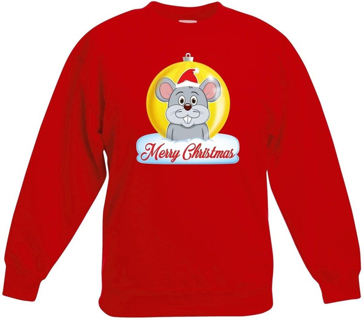 Kersttrui Merry Christmas muis kerstbal rood jongens en meisjes - Kerstruien kind 9-11 jaar (134/146) kopen