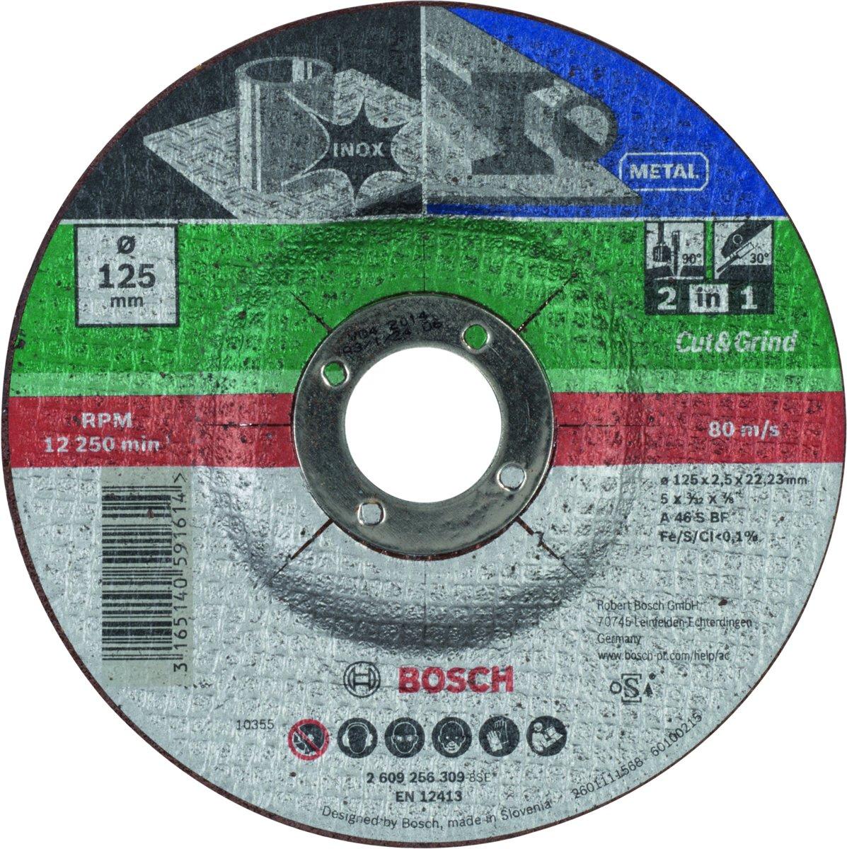 Bosch 3 in 1 slijpschijf - Voor Metaal + inox - 125 x 2,5 mm - gebogen kopen