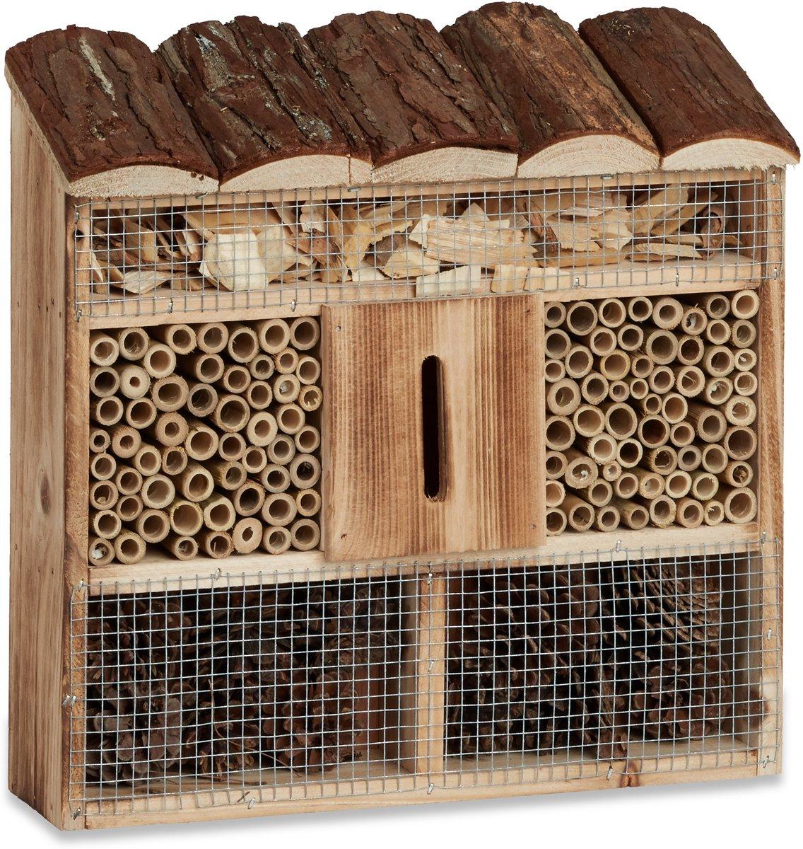 Relaxdays insectenhotel om op te hangen, insectenhuis, overwinteren, nestelen kopen