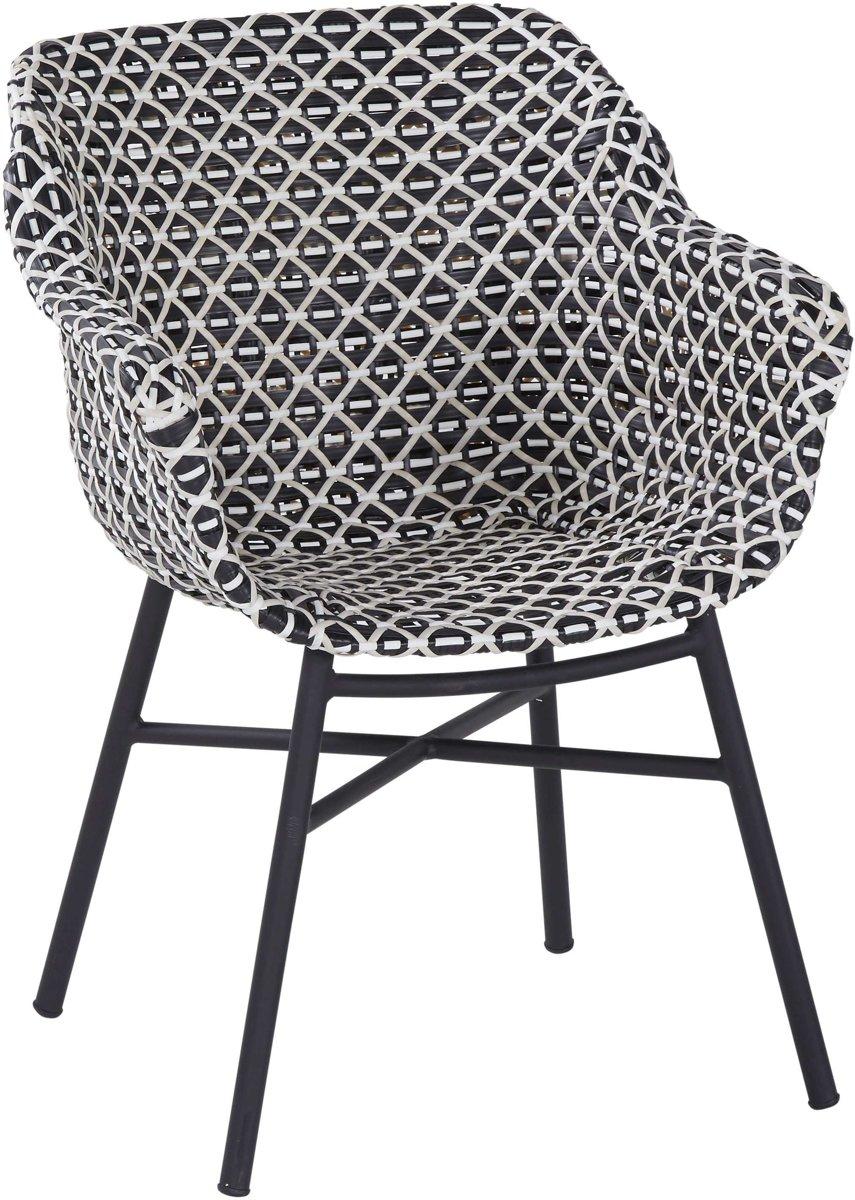 Hartman Delphine Dining Tuinstoel - Zwart/Wit Wicker - Zwart Aluminium Onderstel kopen