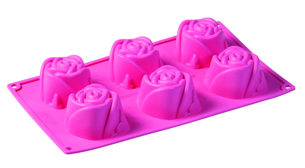 PavonIdea Bakvorm - Siliconen - 6 Roosvormen - Roze kopen