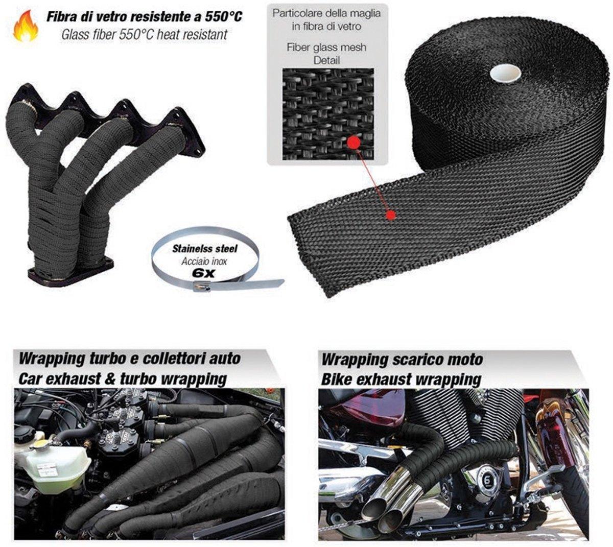 Simoni Racing Uitlaat Thermo Wrap Kit - 508mm X 15,24mtr + 6 Clips -550C kopen