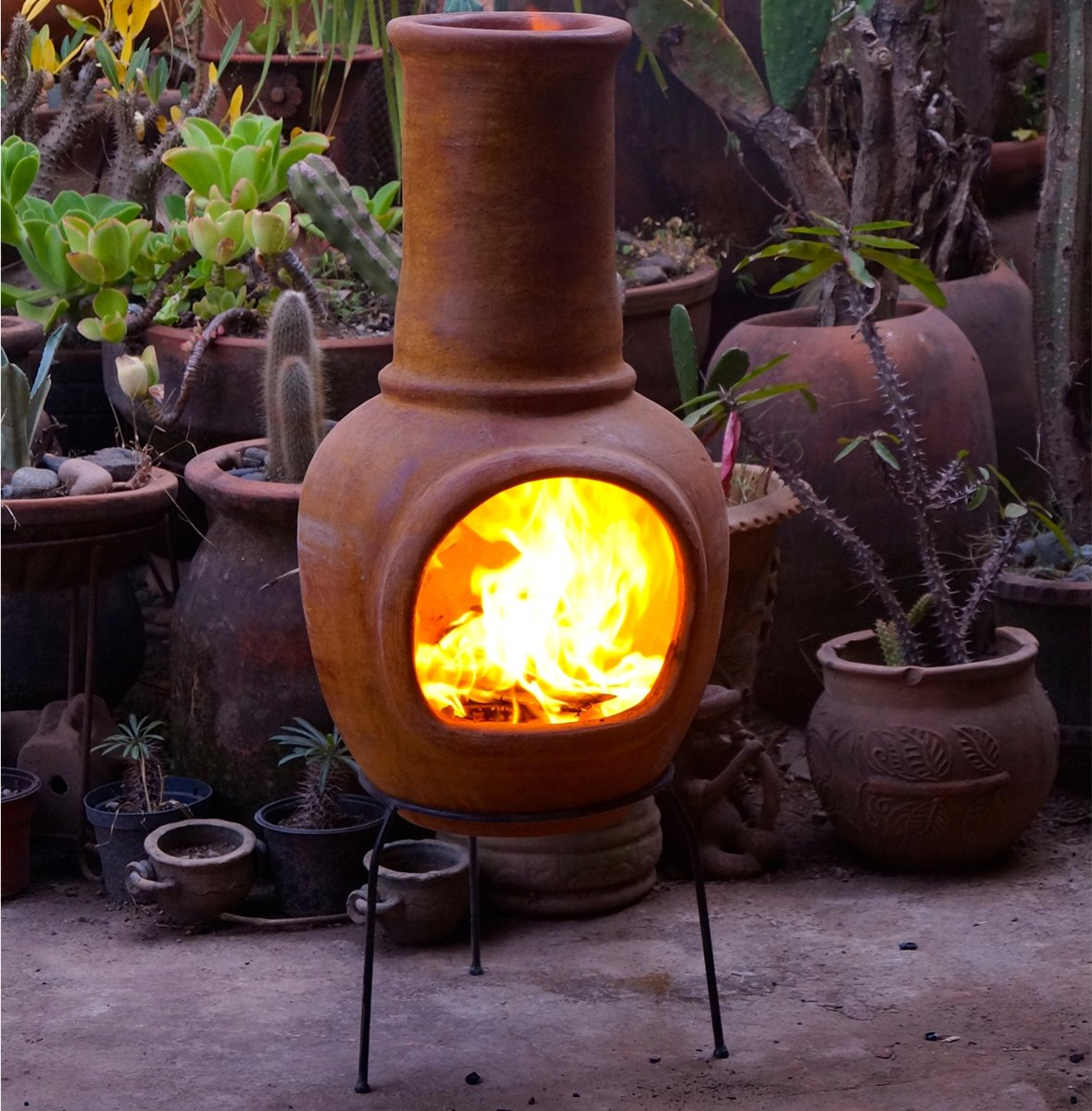 Sol-y-Yo Chimenea Mexicaanse terracotta kachel (geel, 105 cm) kopen