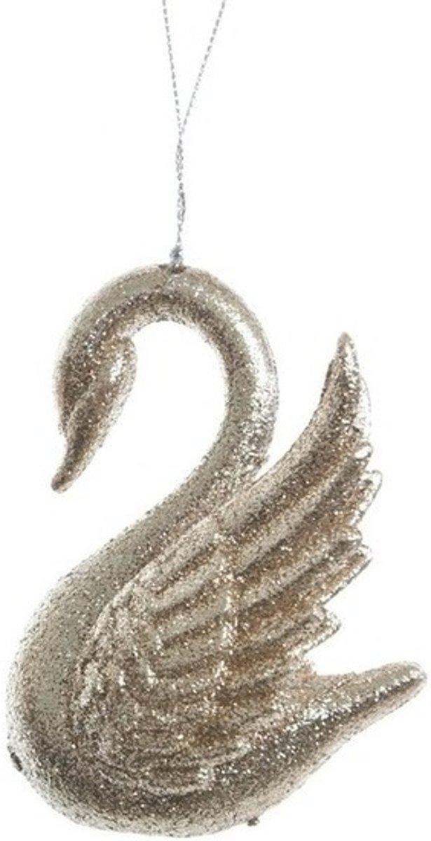 Gouden glitter zwaan kerstversiering hangdecoratie 10 cm kopen