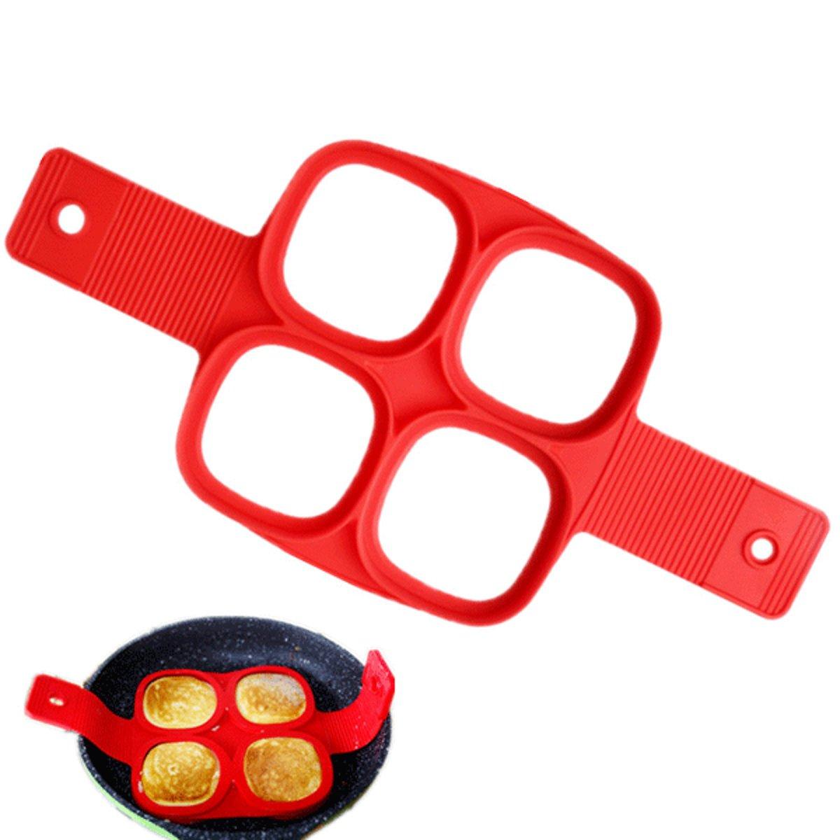 Siliconen Bakvorm Ei Pannenkoek – Bakvorm Flipper - Maak de perfecte pannenkoeken gebakken eieren en omeletjes - Bakvorm ei – Bak eenvoudig 4 Gelijke Gerechten – Model Vierkant kopen