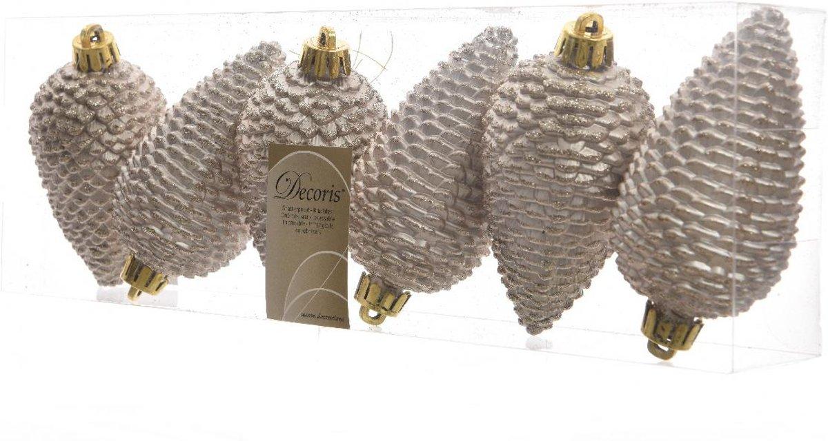 Dennenappels Glitter (8cm) Multi 6 Stuks Pearl kopen