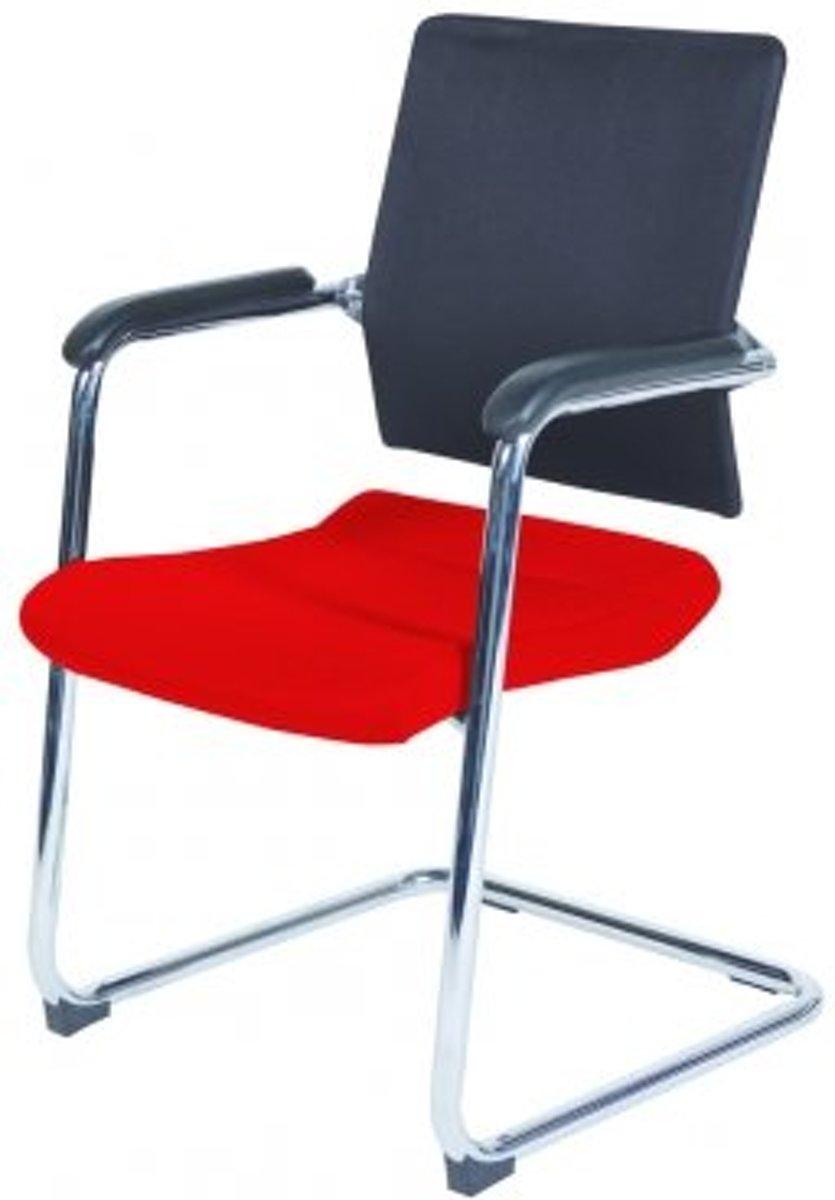 Schaffenburg serie 045 conferentiestoel zitting stof rood en rug mesh zwart kopen
