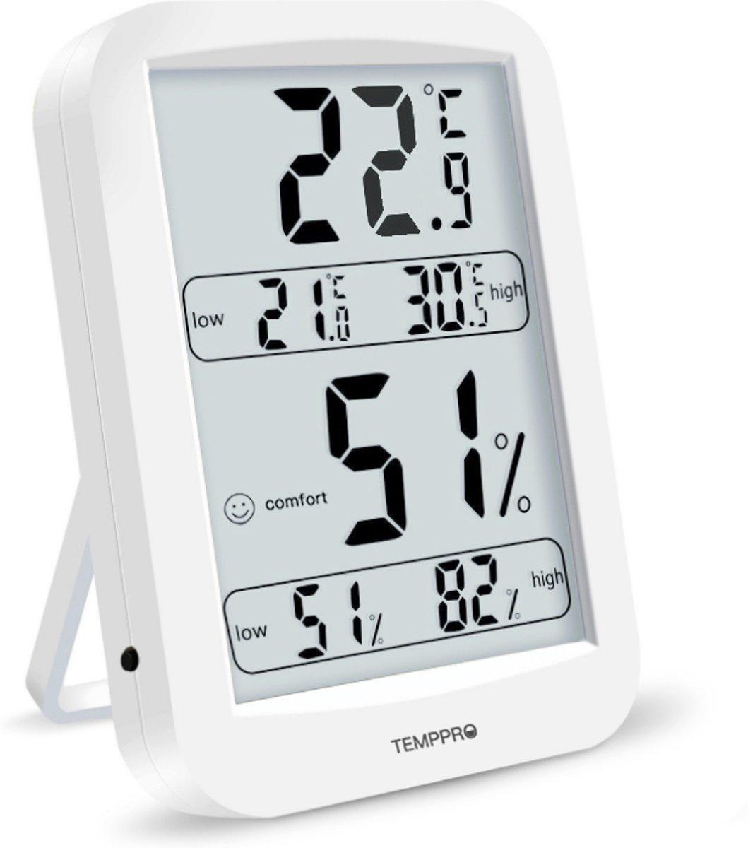 Digitale thermometer en hygrometer met hoge nauwkeurigheid - Vernieuwen van 10 seconden - Comfortindicator - Gegevensgeschiedenis binnen 24 uur -Wit kopen