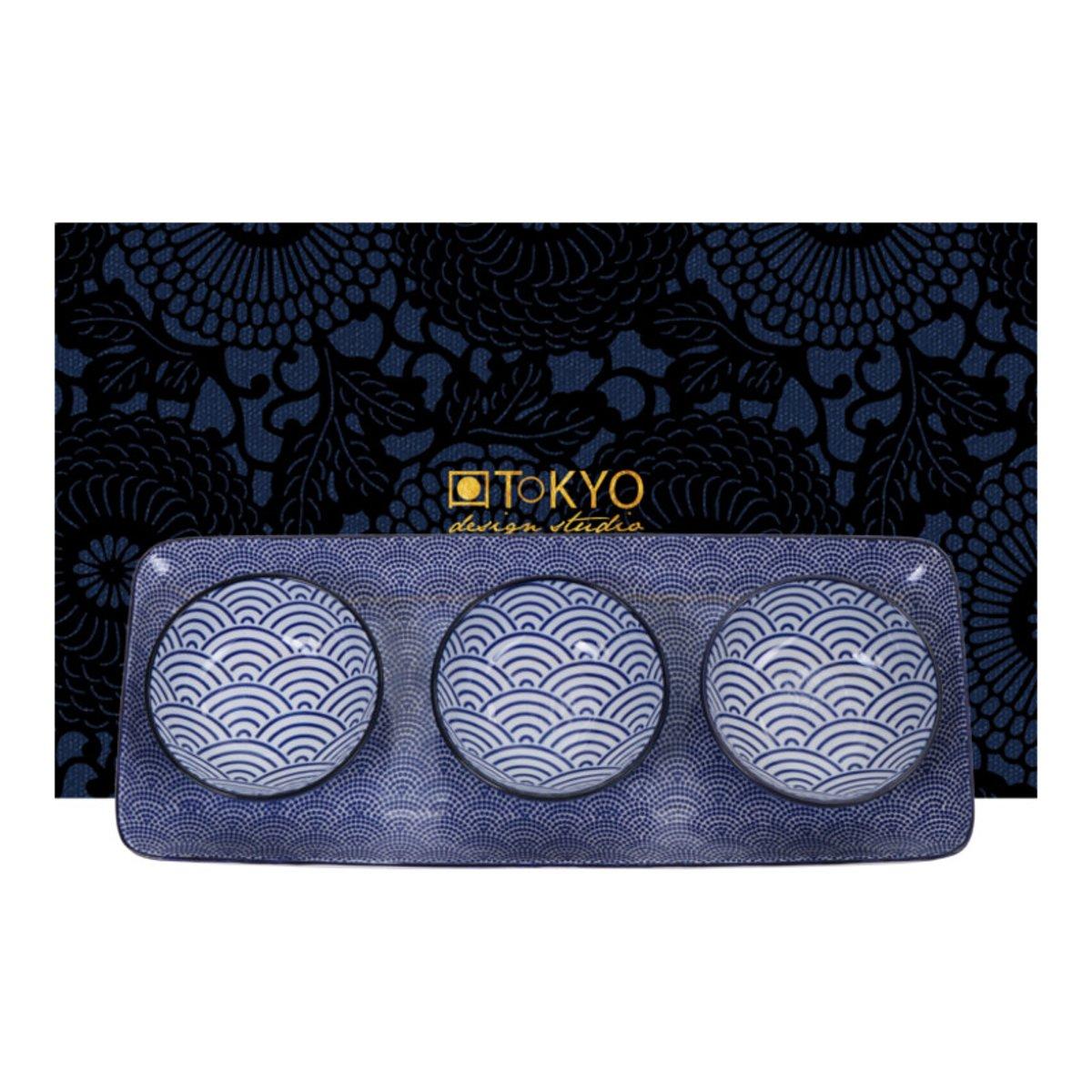 Tokyo Design Studio Nippon Blue Serveerschaal met 3 dipschaaltjes - Geschenkdoos kopen