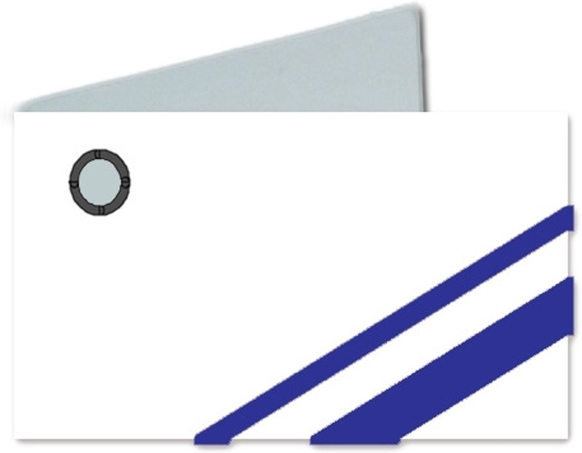 32 witte naamkaartjes met marineblauwe strepen kopen