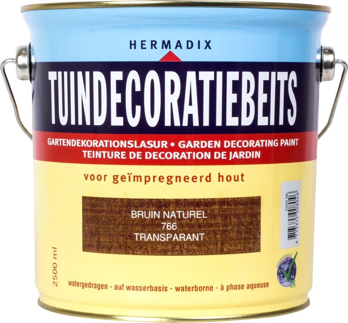 Hermadix Tuindecoratiebeits Transparant 766 Bruin Naturel - 2.5 l kopen