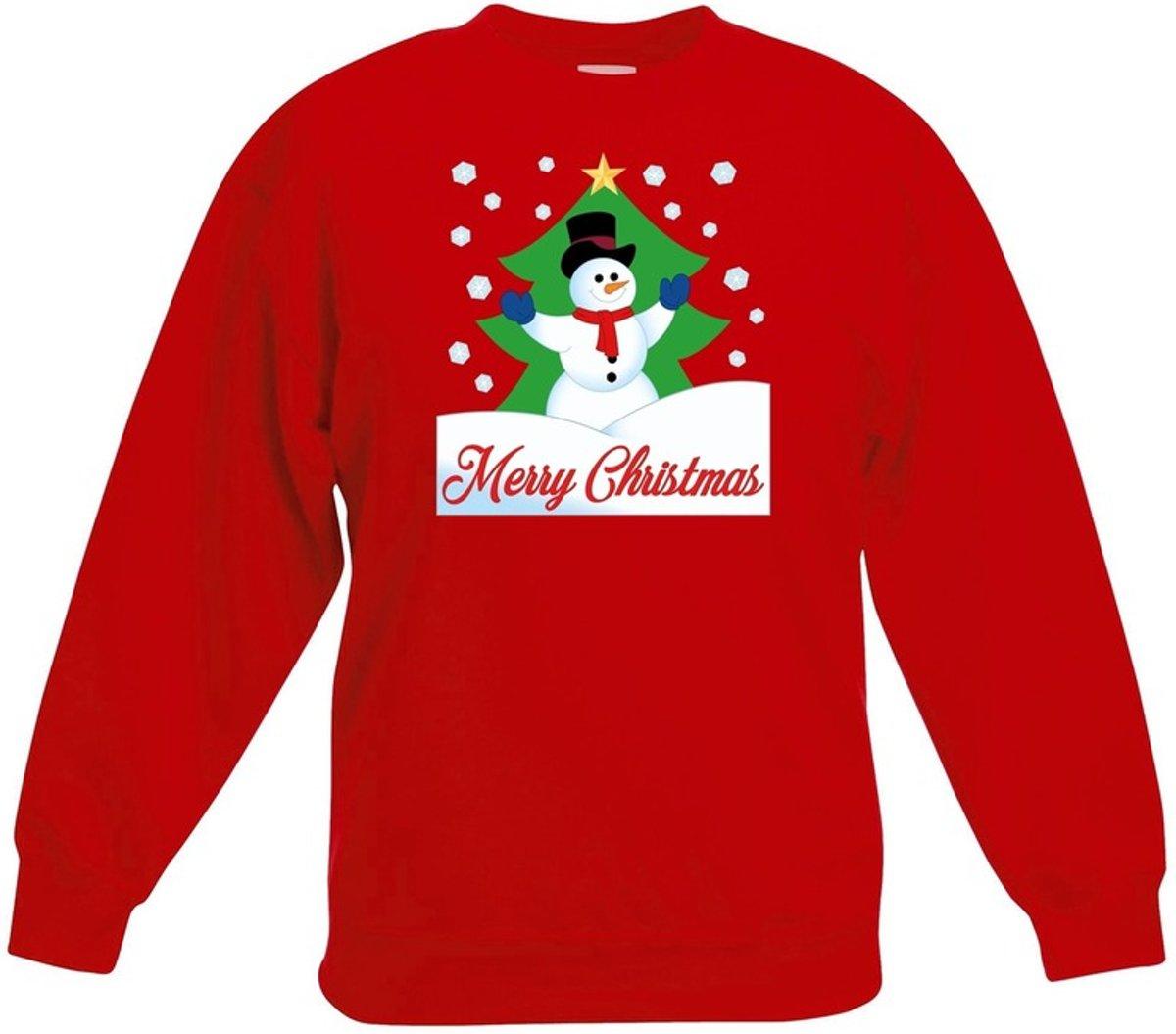 Rode kersttrui sneeuwpop voor kerstboom voor jongens en meisjes - Kerstruien kind 12-13 jaar (152/164) kopen