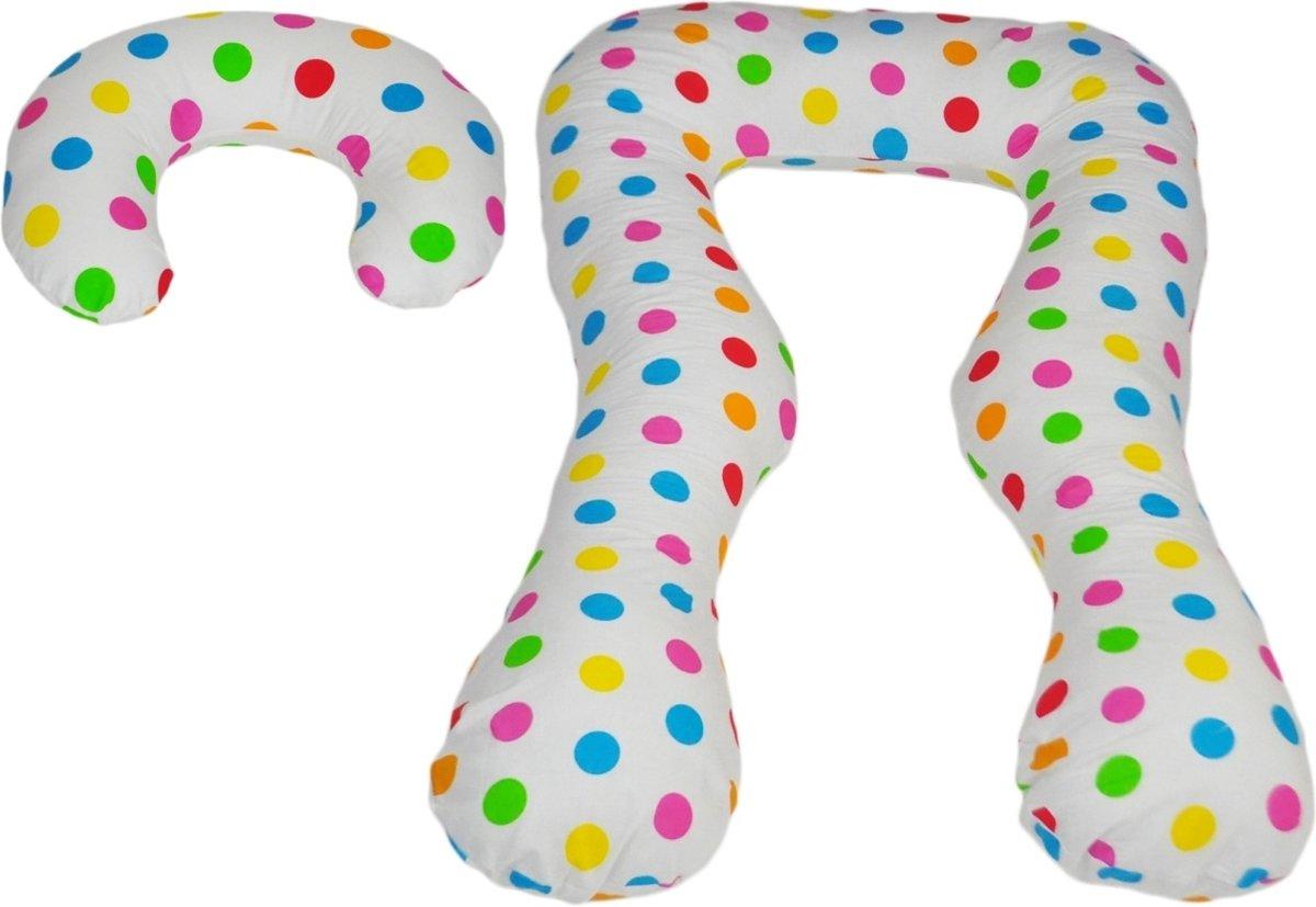 Voedingskussen - Zwangerschapskussen - set - 100% katoen - 300 cm - wit met kleurrijk stipjespatroon kopen