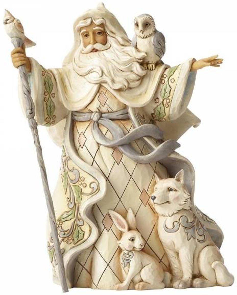 Jim Shore: Één Liefde voor iedereen (Witte Bos Kerstman met Ruit) Beelden & Figuren kopen