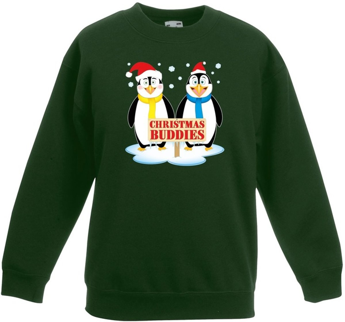 Groene kersttrui met 2 pinguin vriendjes voor jongens en meisjes - Kerstruien kind 3-4 jaar (98/104) kopen