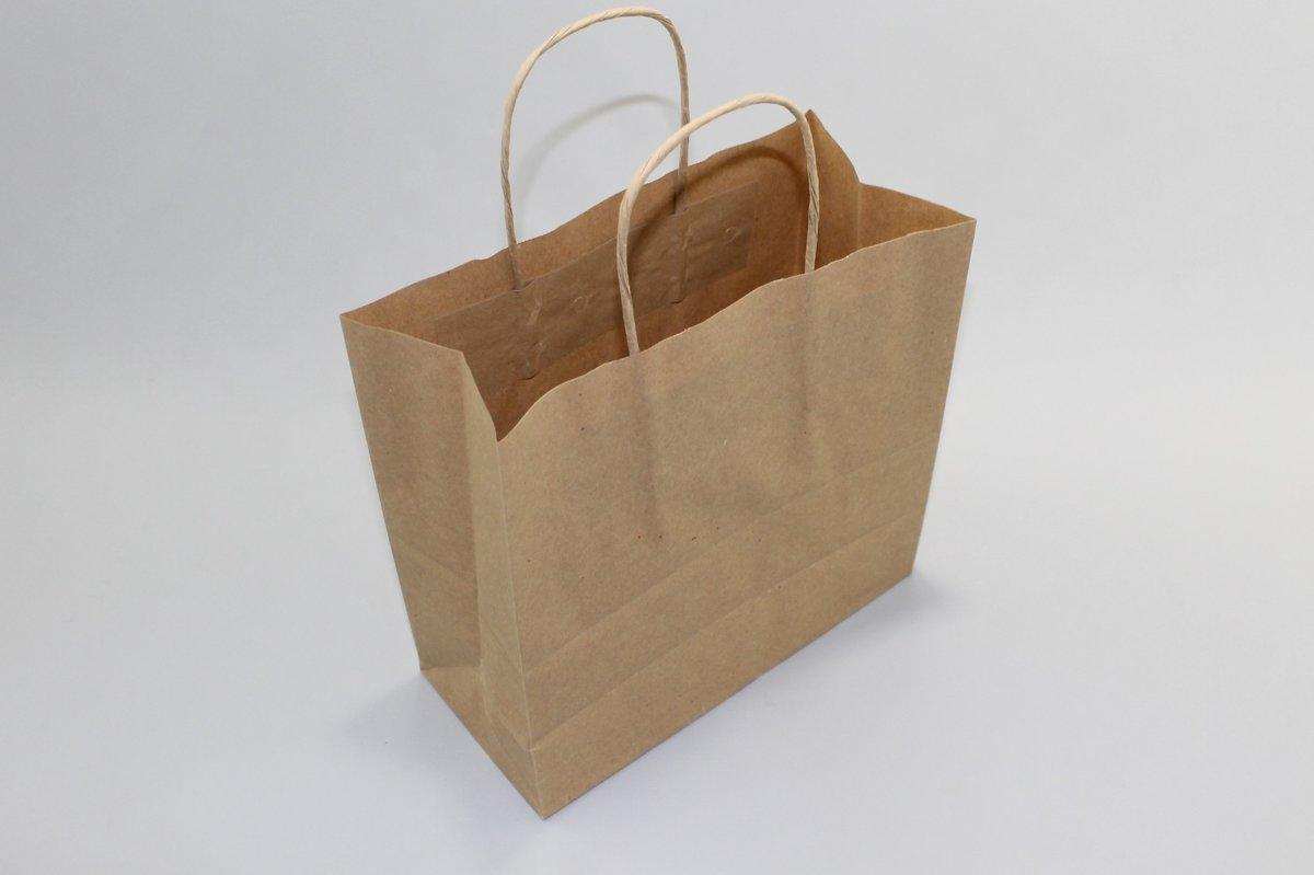 Draagtas bruin kraft 90 g/gm gedraaid handvat 14x8x21 cm (50 stuks) [PAMB1421] kopen