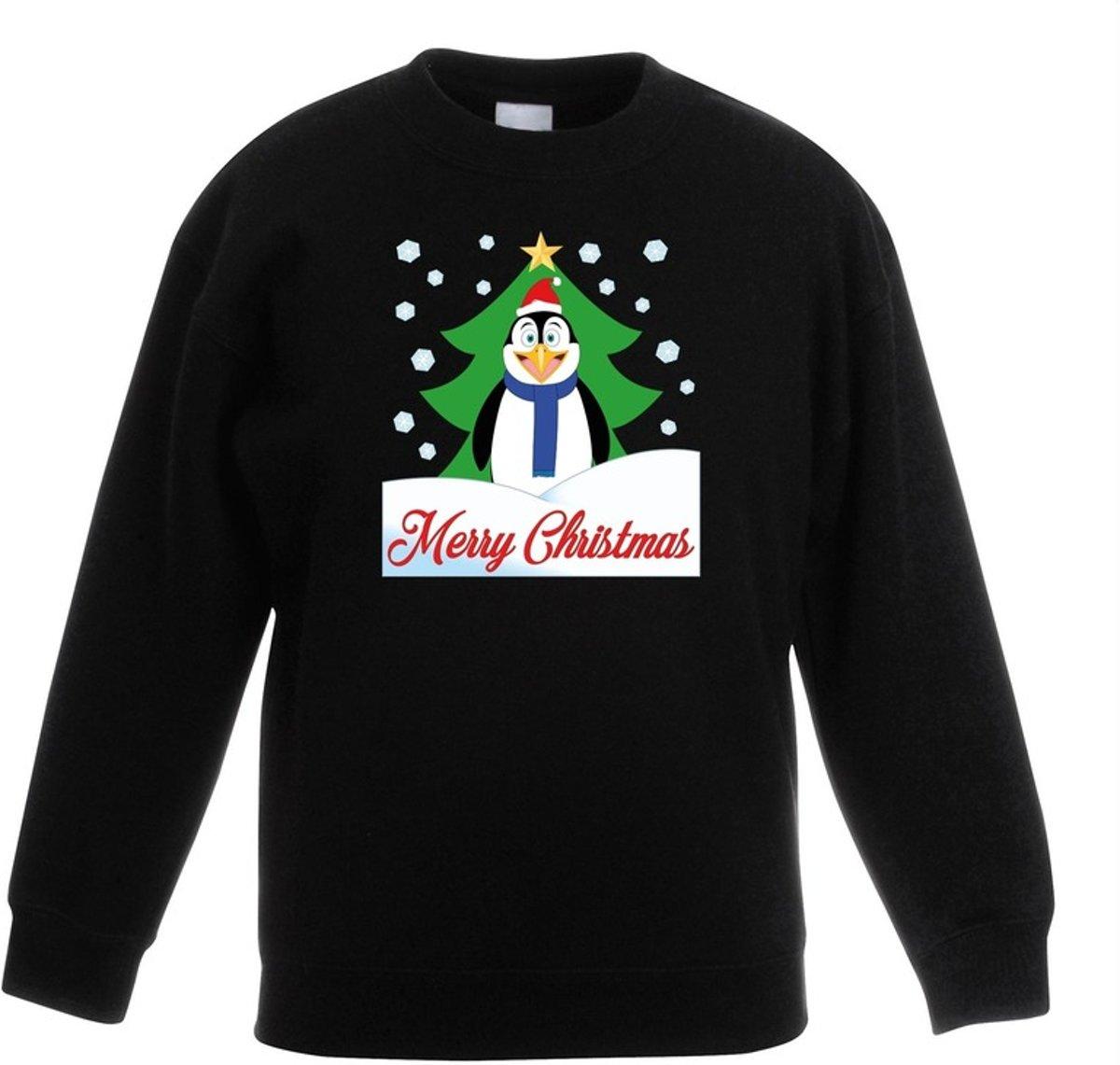 Zwarte kersttrui pinguin voor kerstboom voor jongens en meisjes - Kerstruien kind 7-8 jaar (122/128) kopen