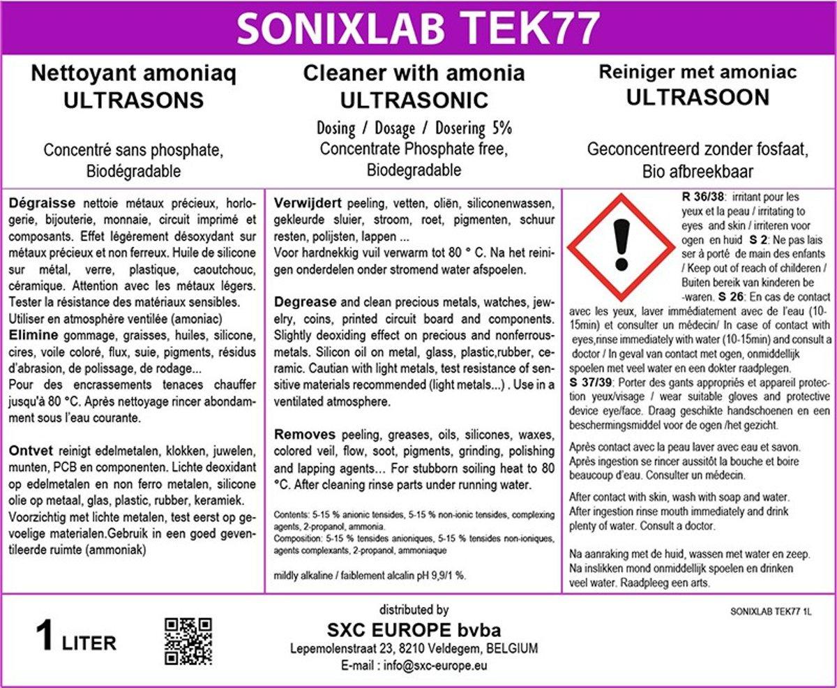 Sonixlab TEK77 intensieve ammoniak ultrasoon vloeistof voor munten en juwelen - 1 liter kopen