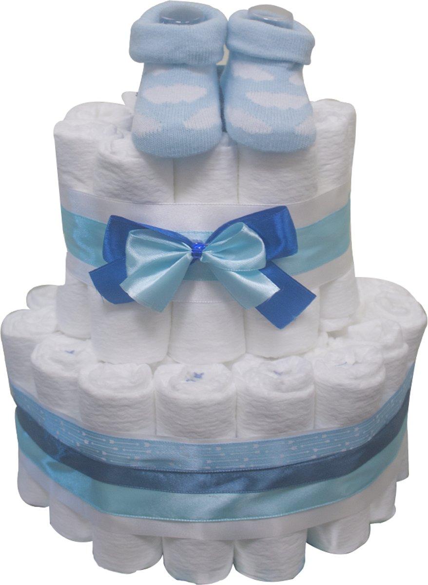 Pampertaart / luiertaart jongens blauw 2-laags (maat1) 2-5 kg babyshower - geboorte - kraamcadeau kopen