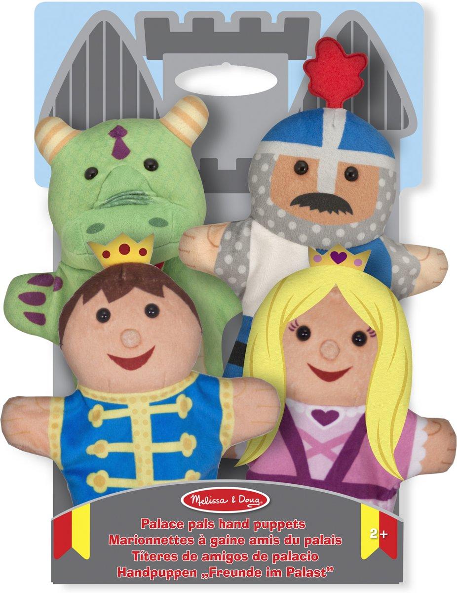 Melissa & Doug Kasteelvriendjes handpoppen (set van 4) - prins, prinses, ridder en draak