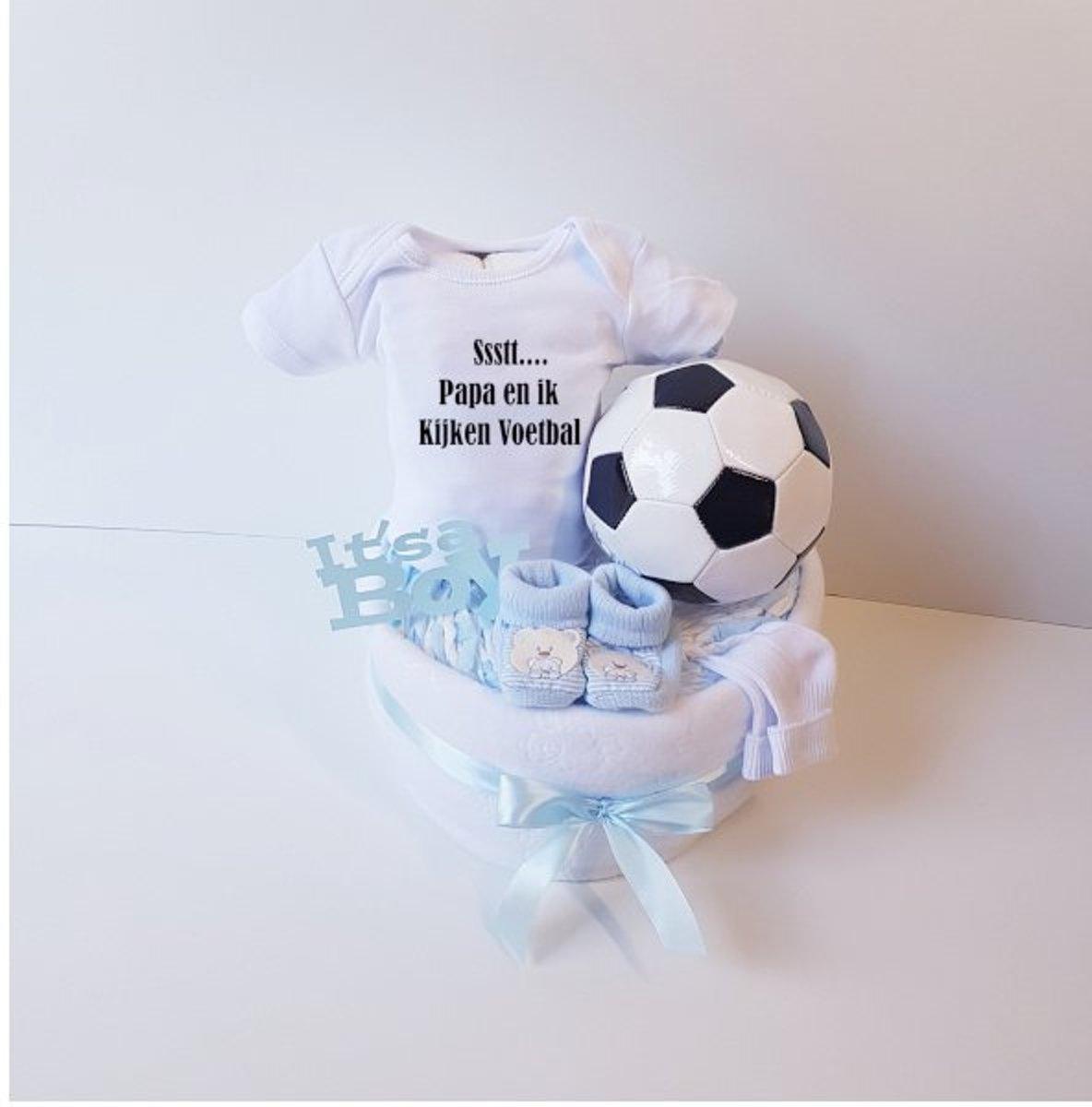 Voetbal Luiertaart Ssst Papa En Ik Kijken Voetbal | Kraamcadeau | Kraampakket | Baby Cadeau