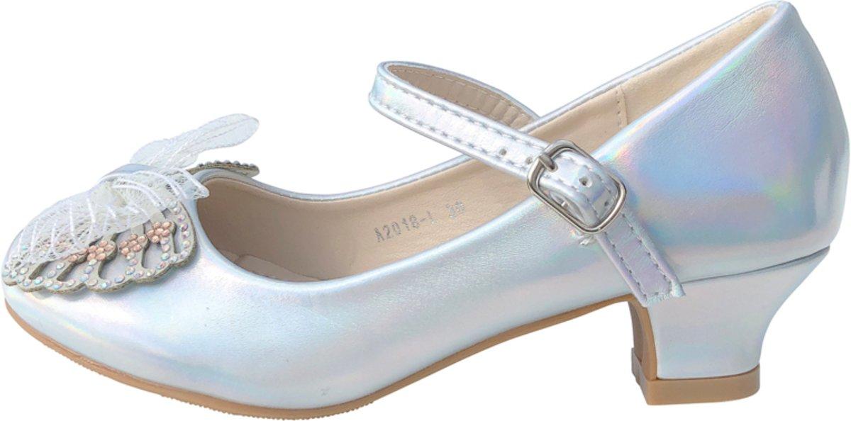 4d053c0099f Spaanse Prinsessen schoenen vlinder - zilver - bruids schoenen - communie -  maat 28 (binnenmaat 18 cm)