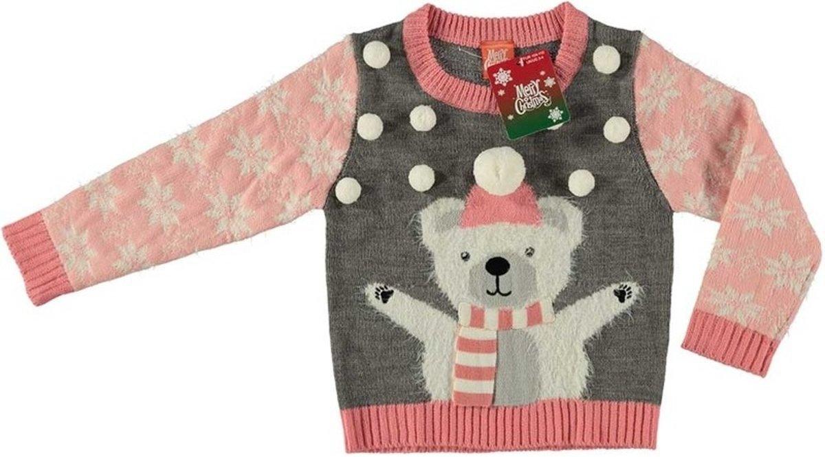 Grijze kersttrui ijsbeer voor kinderen - Foute kersttruien meisjes 116/122 (6/7 jaar) kopen