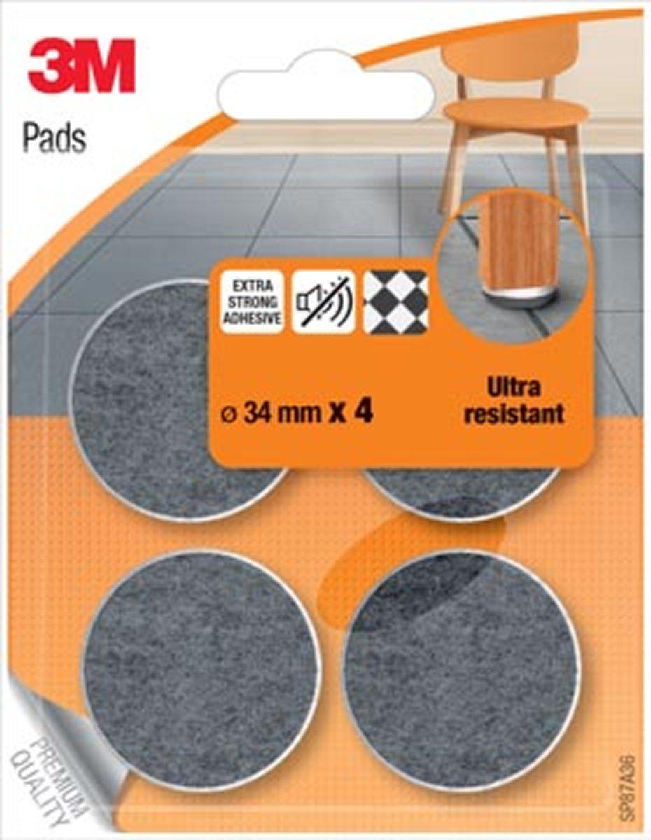 3M beschermende vloerpads, uit vilt, diameter 34 mm, blister van 4 stuks kopen